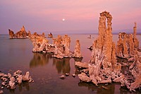 Sunset over Mono Lake tufas with full moon in the background