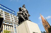 Burke and Wills Statue and St, Pauls Cathedral, Swanston Street, Melbourne, Australia