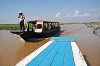 Kampong Khleang (Cambodia): a boat on the Tonle Sap lake
