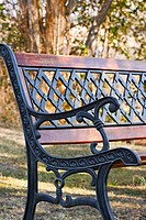 Elaborate metal scroll work on old fashioned garden or park bench