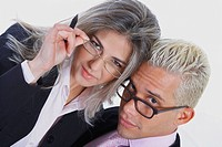 Portrait of a businesswoman and a businessman wearing eyeglasses