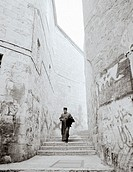 A Coptic monk in the Armenian quarter of Jerusalem, Israel