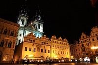 Tyn church in Staromestske Namesti Old Town Square at night, Prague, Czech Republic