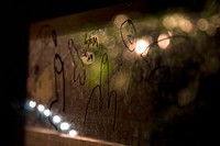 Graffiti on a reflective surface