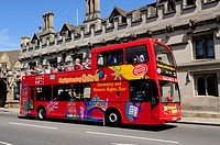 City Sightseeing tourist bus by Magdalen College, Oxford, England, UK
