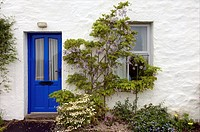 Front of white washed cottage in Lancashire,England