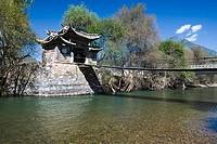 Bridge across a river, Yangtze River, Shigu Town, Lijiang, Yunnan Province, China