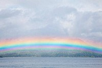 Rainbow over the sea, Hood Canal, Seabeck, Kitsap County, Washington State, USA