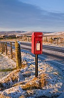 ORPHIR ORKNEY Remote post box by country road winter snow