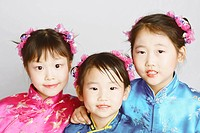 child children portrait three girls in clothing