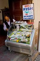 Fresh fish outside a restaurant Kaleici old quarter of Antalya Mediterranean coast south Turkey Asia