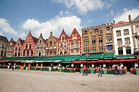 terraces on the Markt, Bruges, Belgium