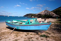 Caribbean, BVI, Virgin Gorda, old fishing boat, beach