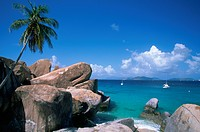 Caribbean, BVI, Virgin Gorda, The Baths, rock formation, boulders, beach