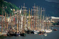 Norway, Bergen, harbor, tall ships