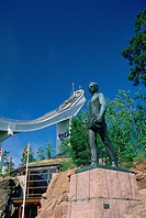 Norway, Oslo, Holmenkollen, site of 1952 winer olympics Statue of Fridtjof Hanse
