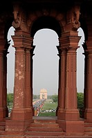 India, Delhi, Vijay Chowk area, view on India Gate