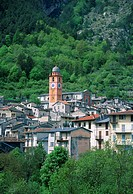 France, Roya Valley, Tende, village, church, tower