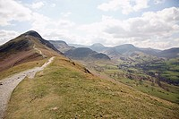 Looking up to Catbells and looking down towards Borrowdale in the English Lake District National Park, Cumbria, England