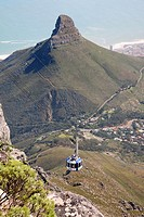 The cable car up Table Mountain with the Lion's Head rock in the background, Cape Town South Africa