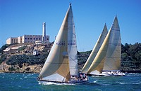 Alcatraz prison and boat race San Francisco San Francisco Bay San Francisco California United States