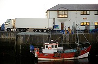 Fish merchant collecting catch from Aberystwyth harbour for export to Spainb, Wales UK
