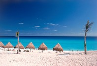 tropical beach scene, Cancun, Mexico