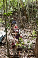 Guatemala, Peten, El Mirador Basin, hikers