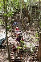 Guatemala, Peten, El Mirador Basin, hikers