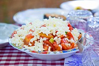 Tomato and cucumber salad with sheep´s cheese Bulgaria