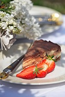 Piece of cheesecake with fresh strawberries