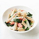 Penne with salmon and spinach