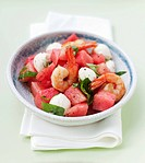 Prawns with watermelon and mozzarella
