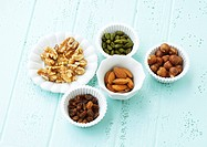 Raisins, walnuts, pistachios, hazelnuts and almonds