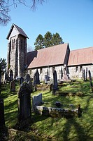 St Gwynno's Church in an isolated rural location in the Brecon beacons, Wales