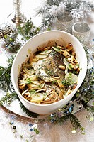 Carp with mushrooms and onions for Christmas