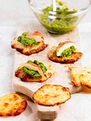 Cheese biscuits with ramsons wild garlic pesto and apple slices