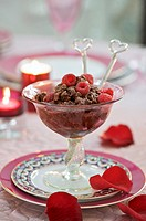Chocolate sorbet with raspberries for Valentine´s Day