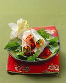 Vietnamese rice paper rolls with vegetable filling