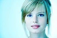 Portrait of a beautiful young girl With a cool blue tint