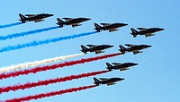The French air force demonstration team, Patrouille de France, starts Bahrain's inaugural airshow with a flyby displaying their national colors Jan  2...