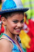 Portrait of a girl dancer at the Carnaval del Pueblo Latin American Festival, London, England, UK