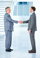 Business handshake and trust Two businessmen shaking hands in a light and modern office environment