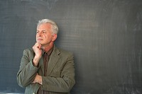 Professor in front of a blackboard
