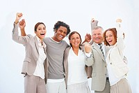 Closeup portrait of cheerful business people standing Isolated