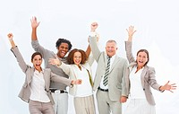 Modern business people having fun against white background