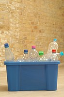 Empty plastic bottles in a box