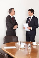Two businessmen talking in conference room, Munich, Bavaria, Germany (thumbnail)