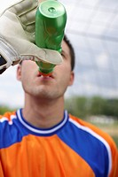 Goalkeeper drinking