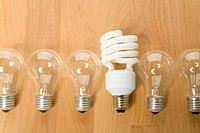 Energy efficient light bulb among conventional light bulbs, Germany